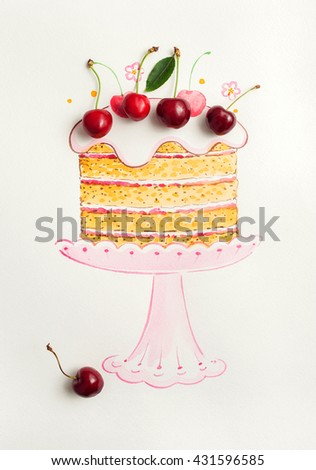 Cherries and painted watercolor cake - stock photo