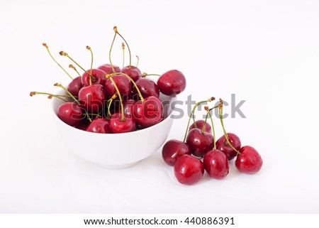 Cherries. Cherry. Cherries in white bowl. Red cherry. Fresh cherries. Cherry on white background. Cherry. Cherries isolated on white. Healthy cherry fruits. Cherries. - stock photo