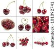 cherries collection, isolated on white - stock photo