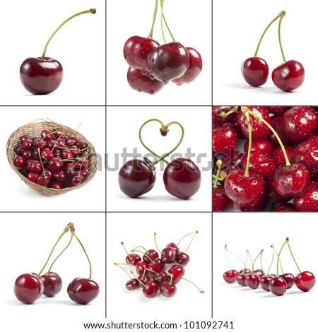 cherries collection, isolated on white