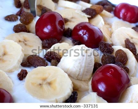 Cherries,currant,banana and yogurt dessert - stock photo