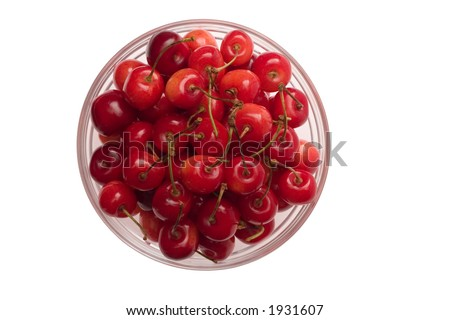 Cherries in a glass bowl - top view.  Isolated on a white background - stock photo