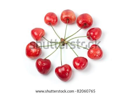 Cherries in circle shape - stock photo