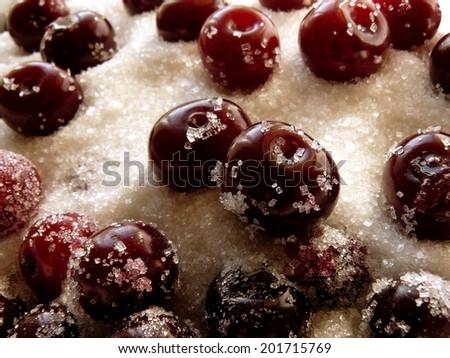 cherries in sugar for preparing jam - stock photo