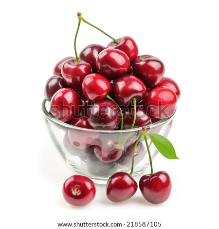 cherries isolated - stock photo