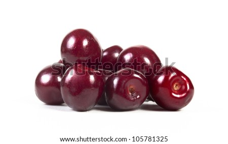 cherries isolated on a white background.