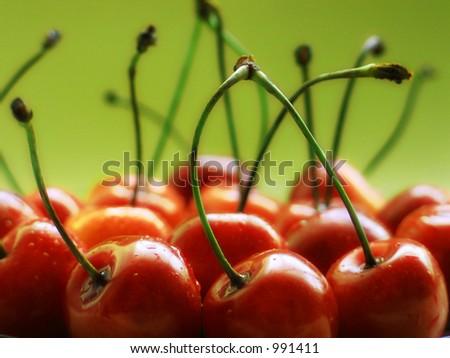 Cherries macro - stock photo