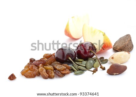 Cherries with apples  mixed nuts and seeds