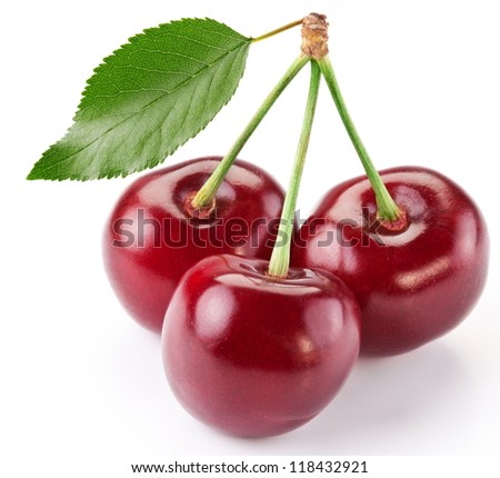 Cherries with the leaf isolated on a white background. - stock photo