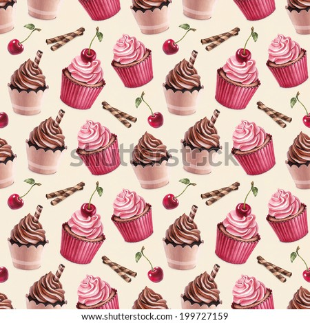 Cherry and chocolate cupcakes illustration. Seamless pattern