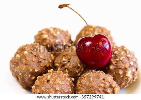 Cherry and Chocolate, Sweet chocolate mixed hazelnut and walnut on ...