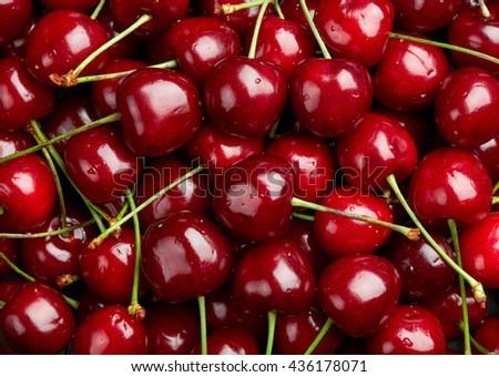 Cherry Background.  Sweet organic cherries on market counter - stock photo