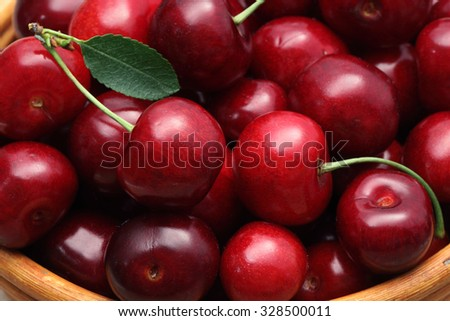Cherry basket / cherry background / cherry with leaf