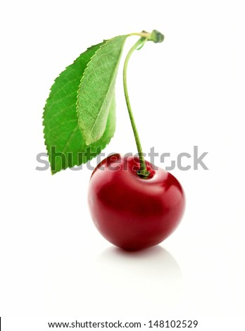 Cherry Berry with leaves close-up on white background - stock photo