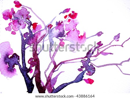 Cherry blossom, abstract hand-painted watercolour background - stock photo