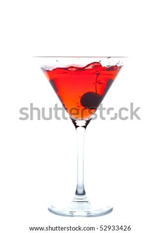 Cherry Blossom Cocktail isolated on white background