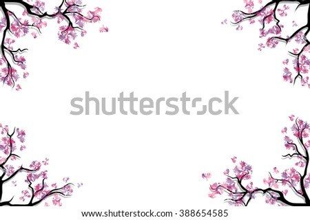 Cherry blossoms twigs on white background. Spring border or frame. Blooming trees. Rasterized version