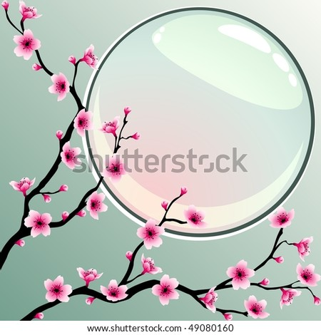 Cherry blossoms with round button (JPG); vector version also available