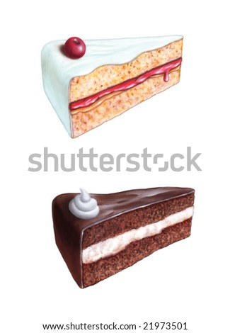Cherry cake and chocolate cake slices. Original digital illustration. Clipping path included. - stock photo