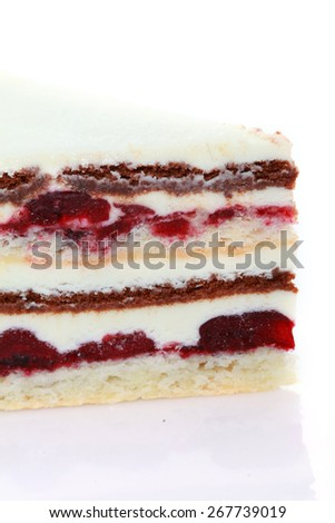 cherry cake close up  - stock photo