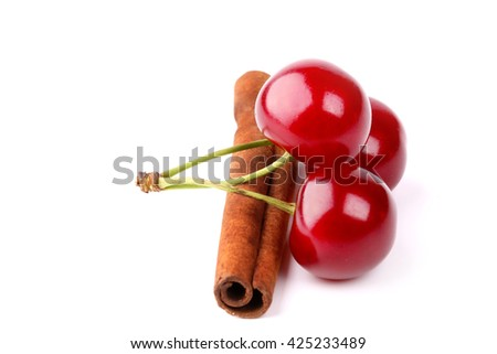 cherry cinnamon isolated on white background
