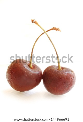 cherry close up-isolated on white background - stock photo