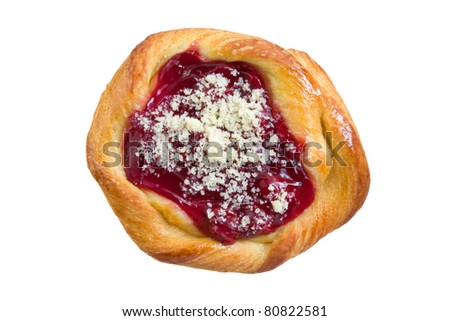 Cherry Danish Pastry Isolated on a White Background - stock photo