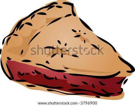 Cherry desert Pie, hand drawn retro illustration - stock photo