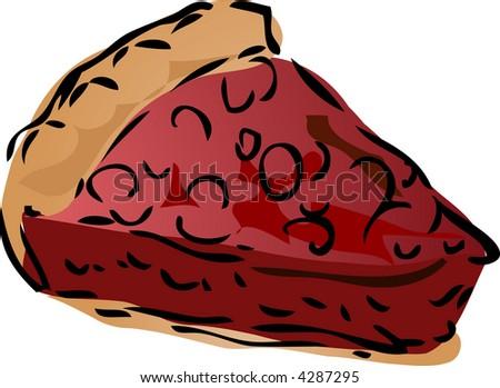 Cherry dessert Pie, hand drawn retro illustration - stock photo