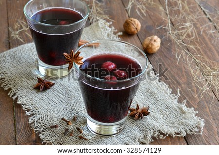 Cherry Drink; Mulled Wine, horizontal, selective focus - stock photo