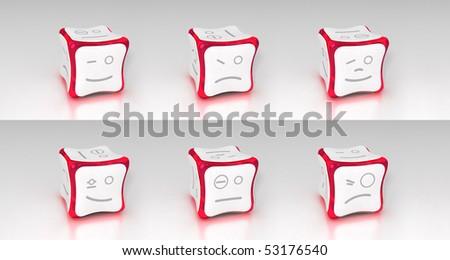 cherry emotional 3d cubes set - stock photo