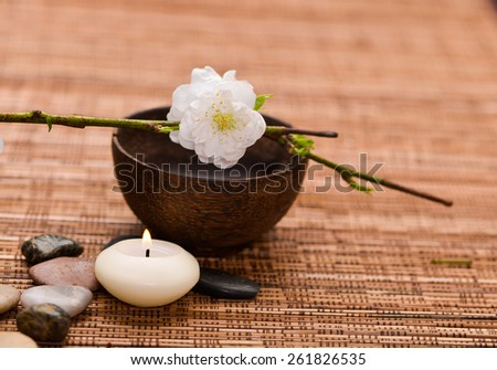 cherry flower in wooden bowl with stones, candle and mat  - stock photo
