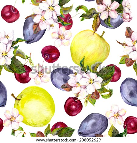 Cherry flowers and fruits: plum, cherry, apple. Seamless pattern. Watercolor - stock photo