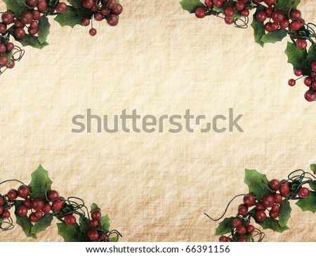 cherry framework of christmas decorations on paper - stock photo