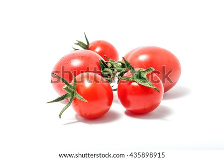 Cherry Grape Tomato Red Ripe Fresh Green Stem on white background  - stock photo