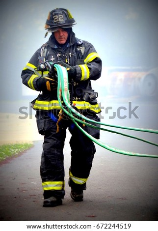 Cherry Hill, NJ - May 8,2012: Cherry Hill Fire Department, with 125 plus firefighters, conducts frequent training sessions.