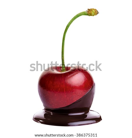 Cherry in hot chocolate on white background - stock photo