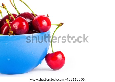 Cherry isolated in bowl on white background. Fresh cherry