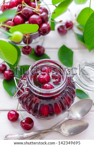 Cherry jam - stock photo