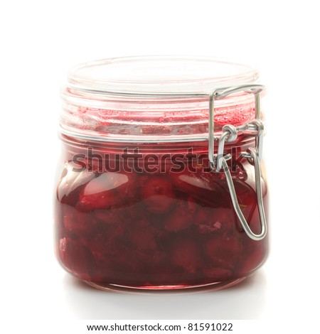 Cherry jam with fresh fruits isolated on white - stock photo