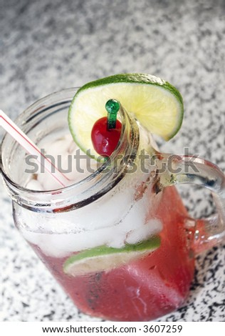 Cherry Limeade in a Jelly Jar - stock photo