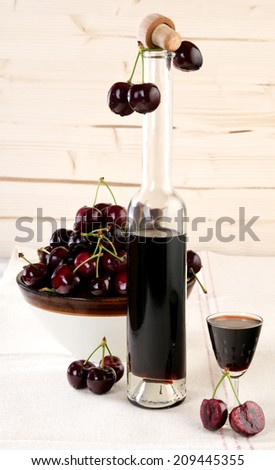 cherry liqueur - stock photo