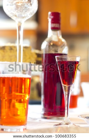 cherry liqueur on the table - stock photo