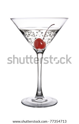Cherry Martini Cocktail on a white Background - stock photo