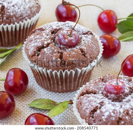 Cherry muffins  with a red cherry on canvas background. - stock photo