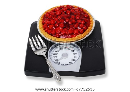 Cherry Pie and Weight Scales. - stock photo