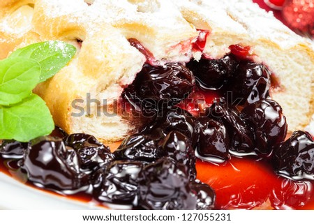 Cherry pie. Delicious fruit cake with sour cherries in it - stock photo