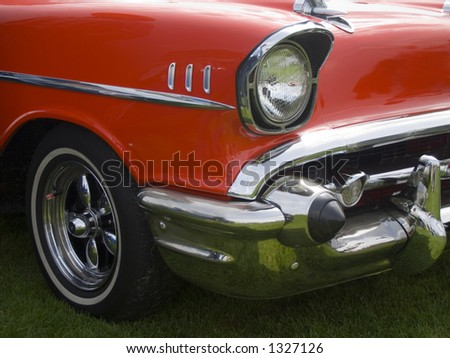 Cherry red and bright chrome. A classic vintage American coupe. - stock photo