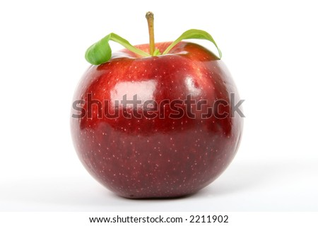 Cherry red summer apple isolated on white, macro close up with copy space - stock photo