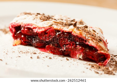 cherry strudel - stock photo